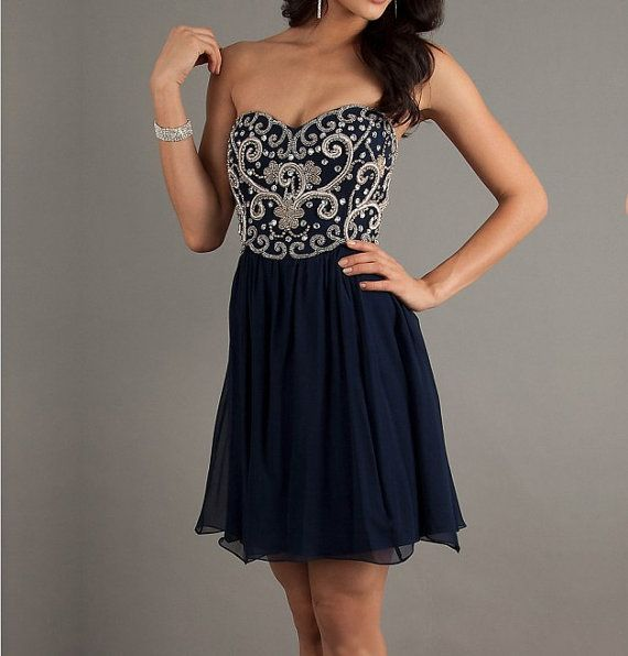 Fascinating Dark Navy Embriodery A-line Sweetheart Mini Homecoming Dress, short homecoming dress, short prom dress 2013 on Etsy, $179.99