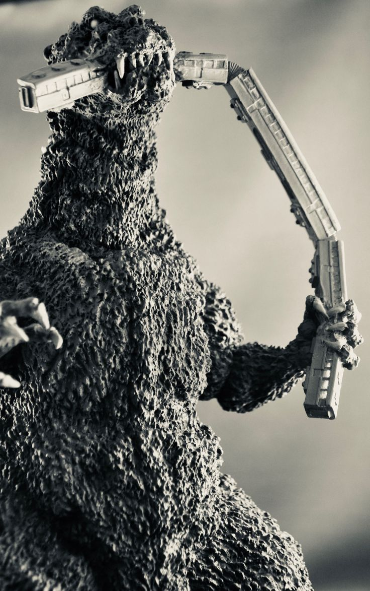 The X-Plus Godzilla in glorious black and white. Photo by Stan G. Hyde