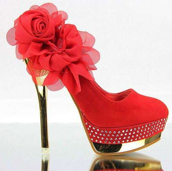 Mooie rode Platform blingbling bergkristal trouwschoenen galaschoenen met bloemen maat 34 35-39 - Kleine maat damesschoenen laarzen pumps hakken 30 31 32 33 34 35 36 37 38 39 kleine maat schoenen