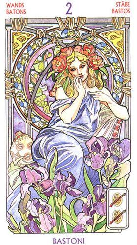 Art Nouveau Tarot - Two of Wands - http://www.amazon.com/Tarot-Art-Nouveau-English-Spanish/dp/0738700088/ref=sr_1_1?s=books&ie=UTF8&qid=1384407259&sr=1-1&keywords=art+nouveau+tarot