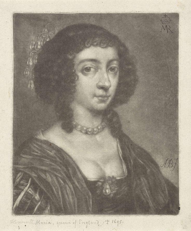 Abraham Bloteling | Portret van Henrietta Maria van Bourbon, koningin van Engeland, Abraham Bloteling, 1652 - 1690 | Portret van Henrietta Maria van Bourbon, koningin van Engeland, echtgenote van Karel I, koning van Engeland.