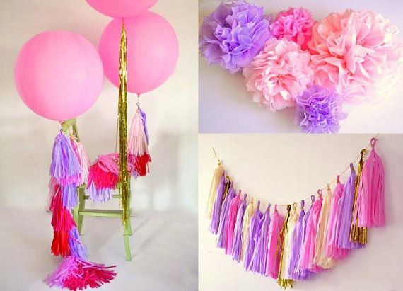 The complete party decoration kit - rapunzel tangled themed party  - 2 giant 36' balloons with tassels + 10 pom poms + tassel garland on Etsy, 460.71₪