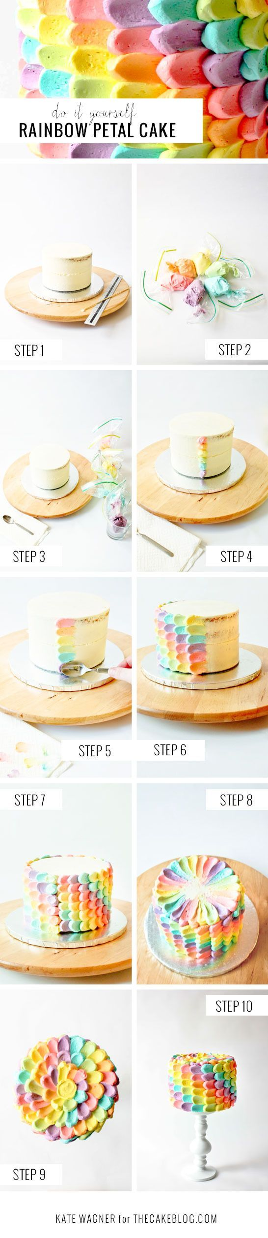 DIY Rainbow Petal Cake by The Cake Blog. With another straightforward and totally achievable DIY. Kate Wagner of The Greedy Baker is using everyday items to decorate a spectacular rainbow cake, perfect for any celebration. It's vivid, bright and has us cheering for a supply list including zip lock bags and spoons. And once you see how easy it is, you'll be cheering too! It's a DIY Rainbow Petal Cake!