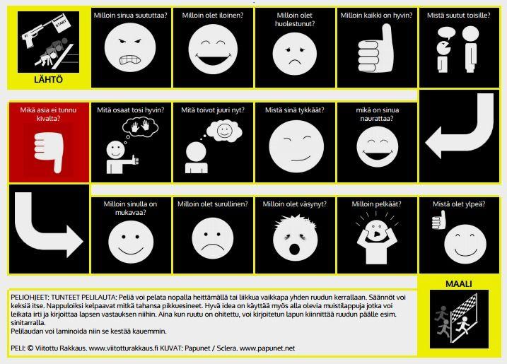 Lautapelin avulla voidaan saada selvyys lapsen tunteista sekä keskustella niistä. Peli sclera-symbolein.