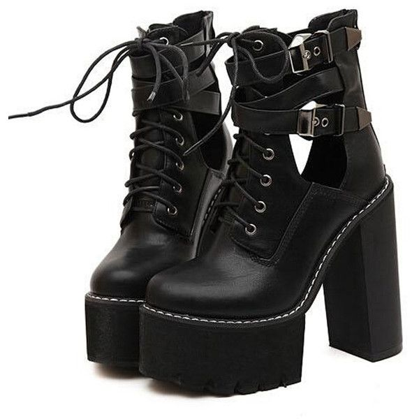 Black Lace Up Buckle Strap Heeled Platform Ankle Boots ($59) ❤ liked on Polyvore featuring shoes, boots, ankle booties, heels, black, zapatos, black ankle booties, lace up heel booties, platform booties and lace up booties