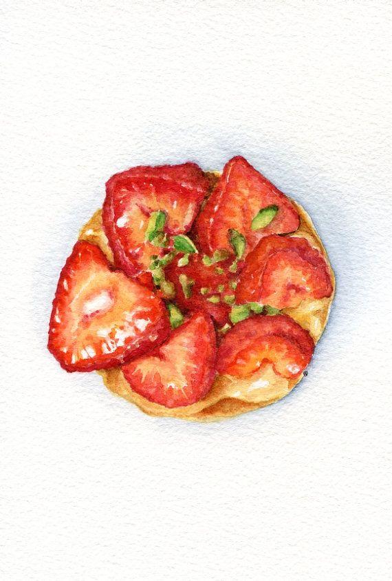 Strawberry Tart ORIGINAL Painting Desset от ForestArtStudio | Etsy.com