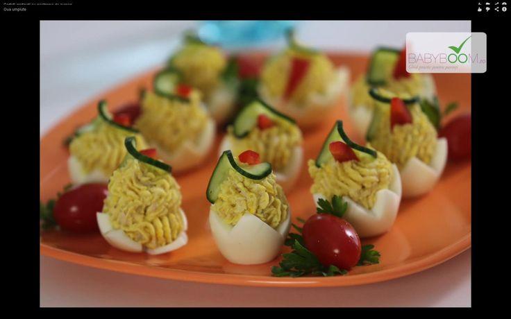 Ouă umplute. Reţeta o puteţi găsi aici în format text dar şi video: http://www.babyboom.ro/oua-umplute/