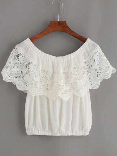 Top crochet hombro al aire -blanco-Spanish SheIn(Sheinside) Sitio Móvil