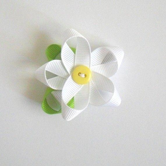 White Flower Ribbon Hair Clip