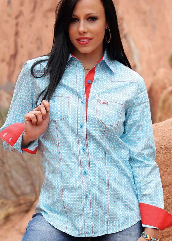 over 50% off retail!  CRUEL GIRL RODEO Western Barrel Blue Geometric Button SHIRT COWGIRL NWT MEDIUM #CruelGirl #Western