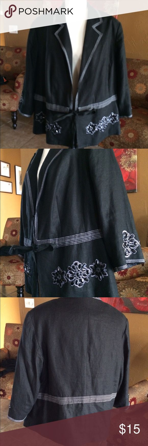 JM Collection 18w blazer Light black denim women blazer by JM Collection in size 18W. Beautiful sequin in the front bottom and sleeves. In excellent condition JM Collections Jackets & Coats Blazers