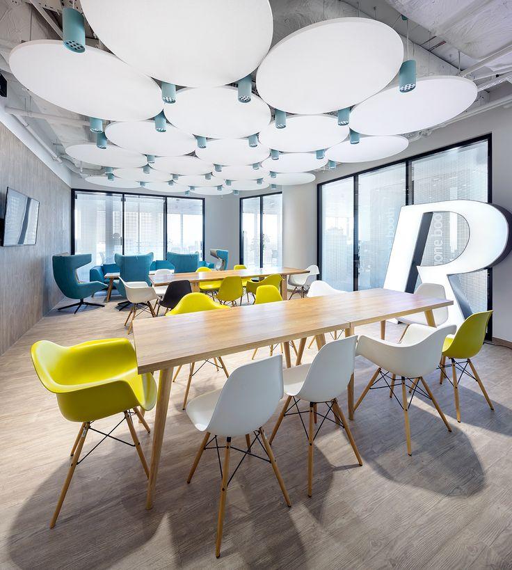 Biuro EY, Warszawa, Armstrong, sufity podwieszane, sufit akustyczny, ceiling, acoustic, Optima Canopy Circle