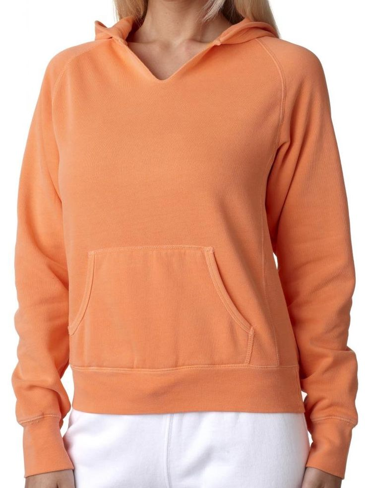 "Ladies Vibrant Raw-Edge Hoodie Sweatshirt, 2XL Melon Orange. Cozy comfort in amazing colors detailed with fun, distressed raw edges. 80% Ringspun cotton - 20% Polyester. Distressed raw edges on neckline and front pouch pocket. ""Yoga Clothing for You"" guarantees your satisfaction on every purchase!."