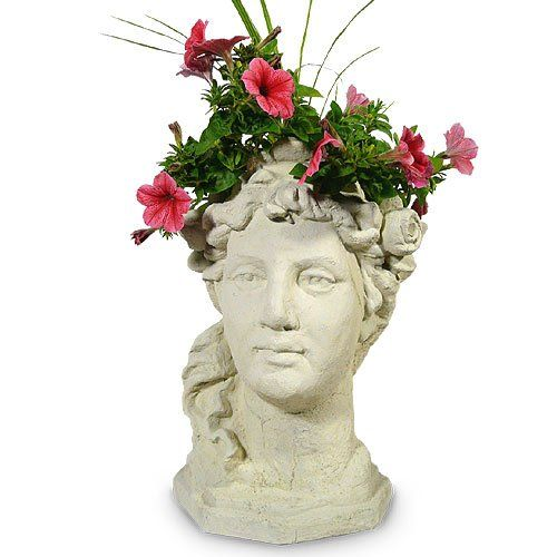 Garden Goddess Head Planter 17 Concrete