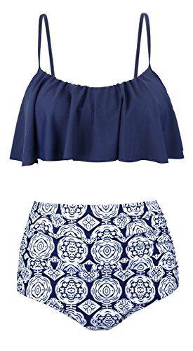 9b286846342b0 UniSweet Tankinis Swimwear For Women High Waisted Two Piece Swimsuit Womens Bikini  Set Bathing Suits Teens Girls UBKS060-N1-M