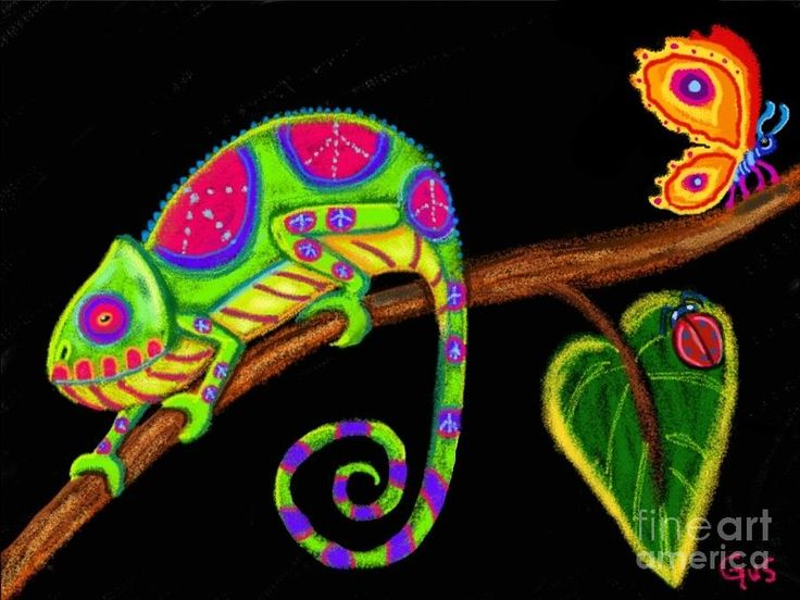 Chameleon And Ladybug Drawing Fine