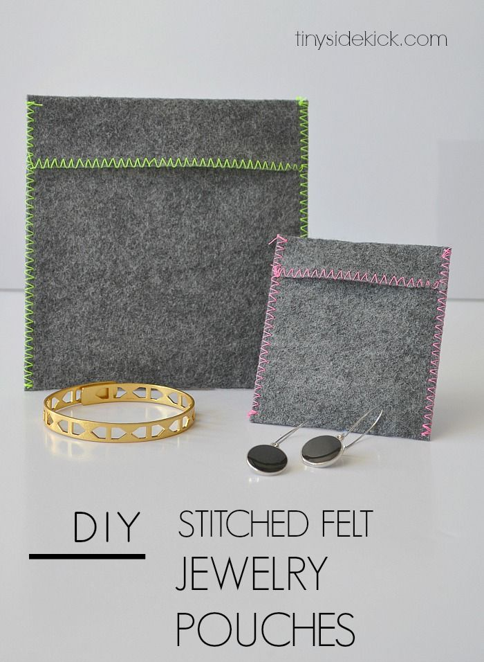 DIY Felt Jewelry Pouches-  I need these for travel or to keep in my gym bag to keep my jewelry safe!  Such and easy 10 min project.