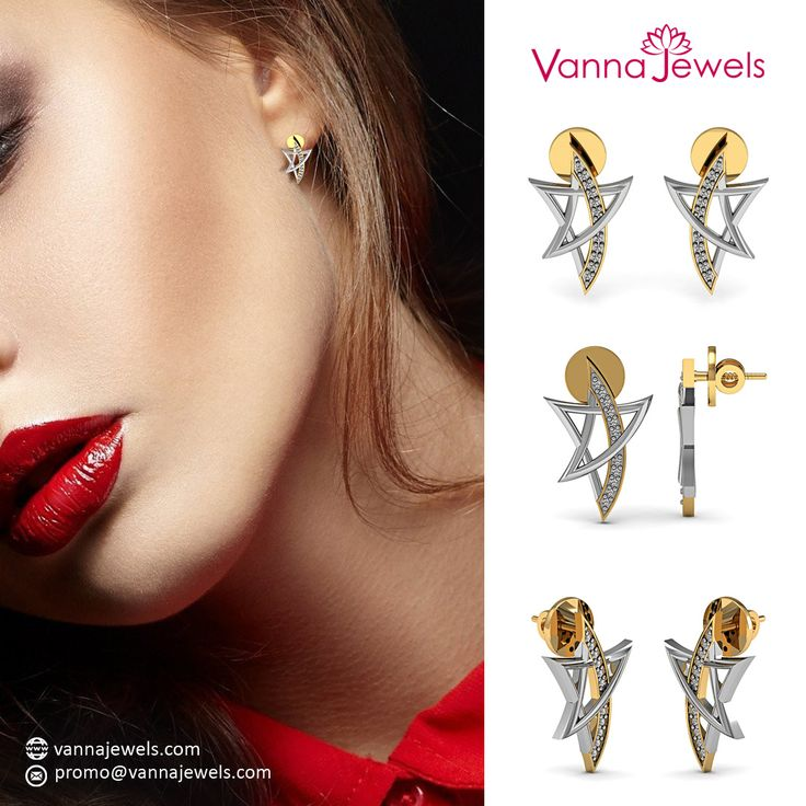 Vannajewels Collection Certified Diamond Star Shape Womens Stud Earrings Designer Fine Anniversary Gift Jewelry Set in Solid 18k Yellow Gold