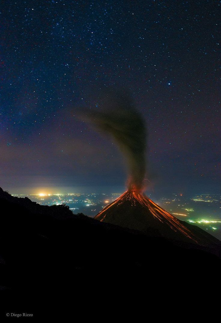 Volcano of Fire Erupts Under the Stars --- Mar. 11 --- Image Credit & Copyright: Diego Rizzo