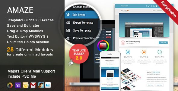 Amaze - Responsive Email + TemplateBuilder - Newsletters Email Templates