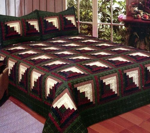 Green Log Cabin Quilting Quilt Sets Log Cabin Quilts