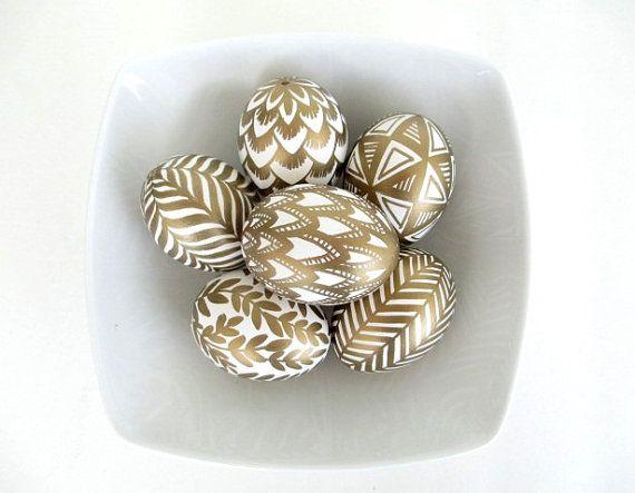 6 golden eggs for Easter home decor in gold by UkrainianEasterEggs