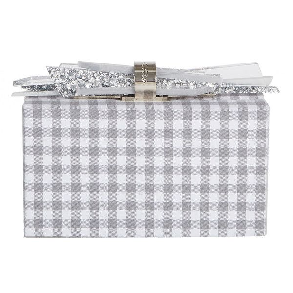 Edie Parker Wolf Gingham Cotton Clutch Bag (22.509.600 IDR) ❤ liked on Polyvore featuring bags, handbags, clutches, grey, handbags clutches, gray purse, clasp handbag, wolf purse, clasp purse and grey purse