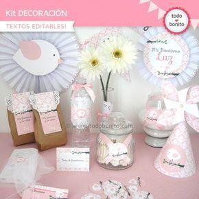 Pajarito rosa: Kit decoración