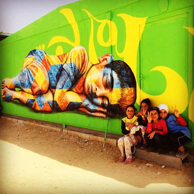 joel artista TBT from last year's mural arts project with Syrian refugee youth in the Za'atari camp in Jordan, thanks to all the kids who participated!! 3/12/15 #aptart #unicef #acted #zaatari #refugeeart #syria #jordan #TBT