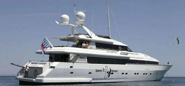 Superyacht Indigo Star, owned by Robert Geiss. He is the founder of the German fashion brand Uncle Sam.