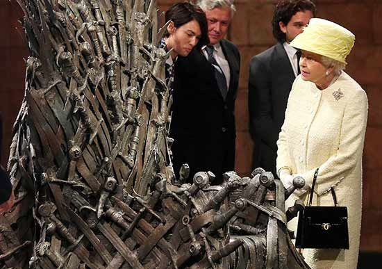 Her majesty was offered the chance to sit on the infamous Iron Throne but she politely declined.