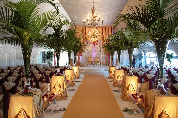 Tall Green Rainforest Themed Indian Wedding Ceremony