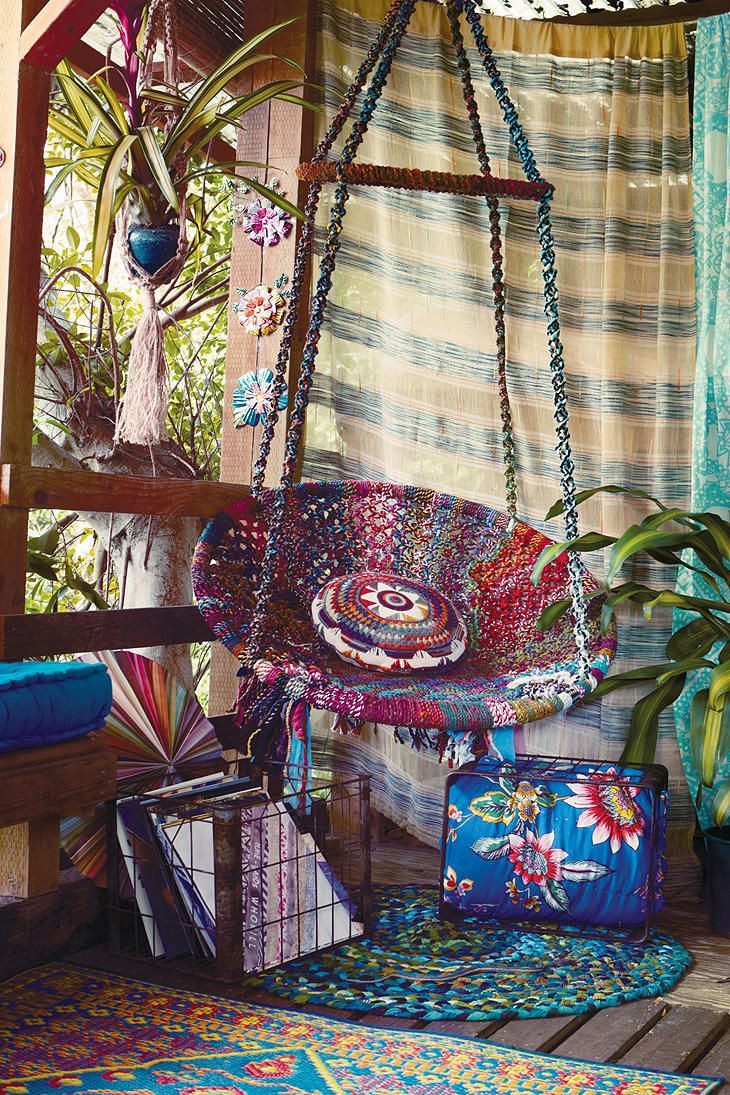 Boho style porch from Urban Outfitters: Patio Design, Boho Chic, Urban Outfitters, Swings Chairs, Reading Nooks, Hanging Chairs, House, Bohemian Decor, Bohemian Style