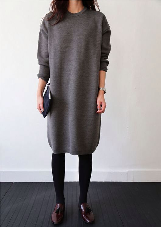 Grey Plain Irregular Round Neck Midi Dress