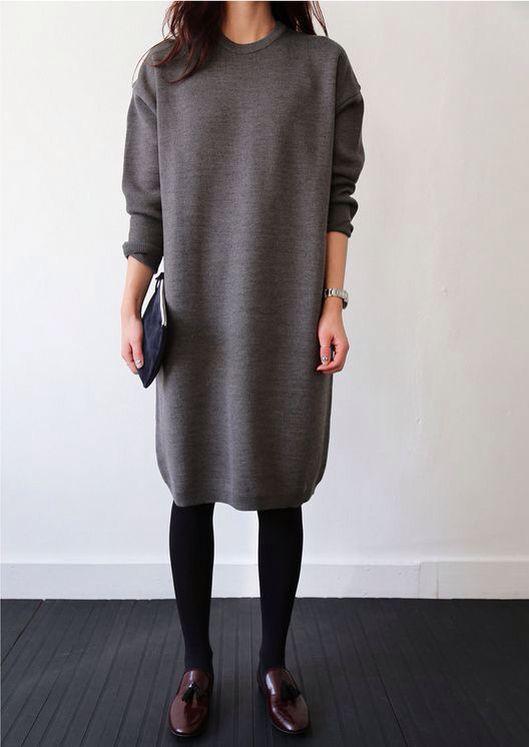Grey Plain Irregular Round Neck Midi Dress