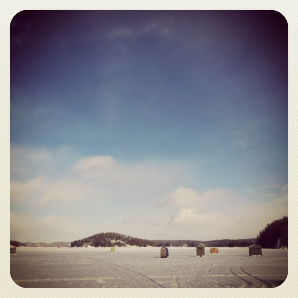 Ah, winter in rural Ontario: ice fishing huts on Mary Lake, Port Sydney (Muskoka)