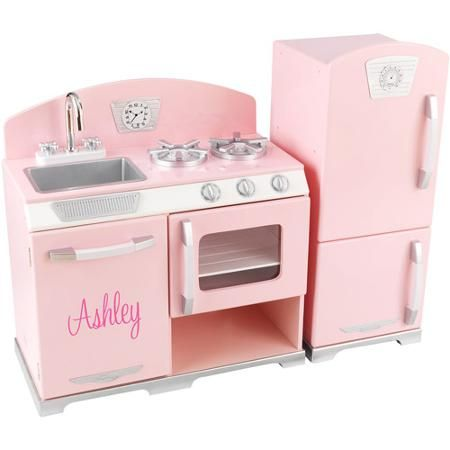 KidKraft - Personalized Retro Pink Play Kitchen, Pink Script Font Girl's Name, Ashley - Walmart.com