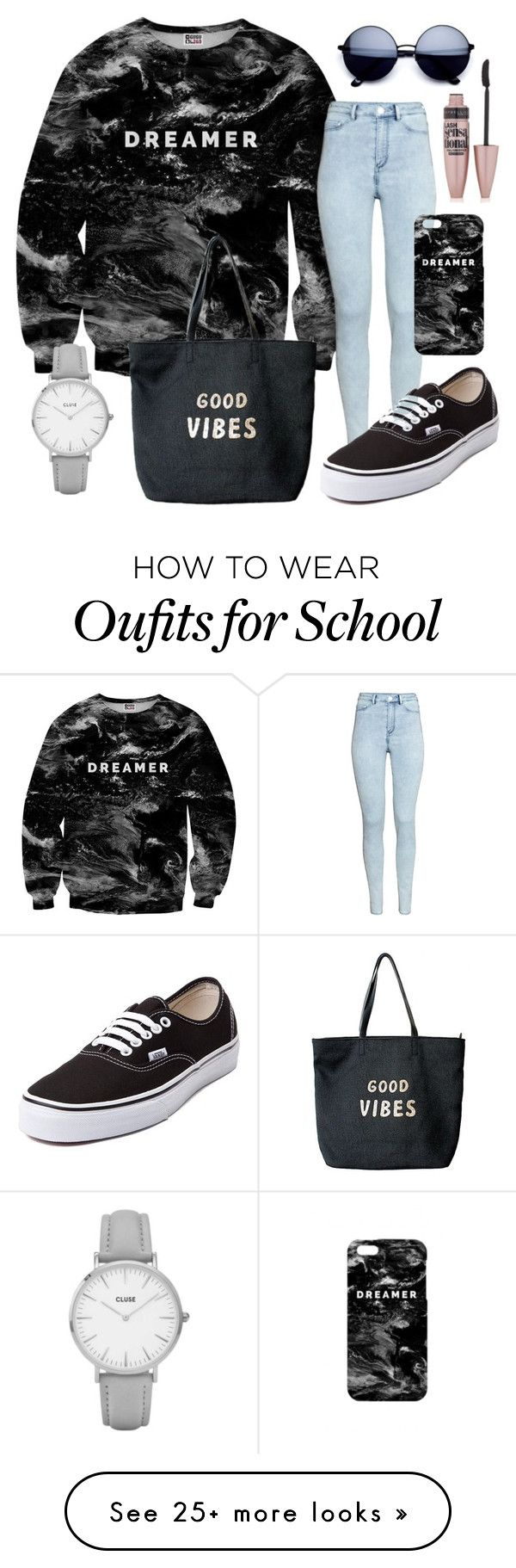 """""""Back To School"""" by swayzes-babyx on Polyvore featuring Mr. Gugu & Miss Go, H&M, Vans, Venus, Topshop and Maybelline"""