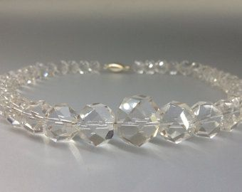 Check out Rock Crystal necklace faceted beads with Sterling silver clasp - gift idea on gemorydesign