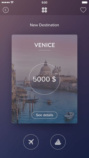 Brilliant Card-based UI Designs for Inspiration - Travel App Card