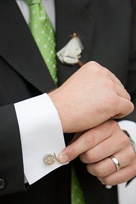 fly reel cufflinks (cufflinks.com) and fly fishing boutonniere (made by the groom)