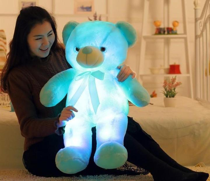 7Colorful Xmas Bear Luminous Pillow Christmas Toys Led Light Pillow Plush Pillow