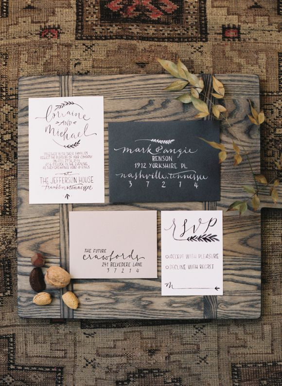 Rustic and refined Nashville wedding stationery inspiration in black, cream, and mushroom