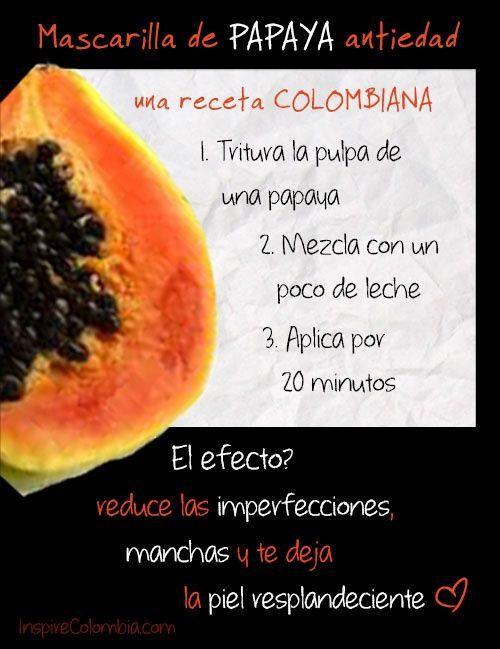 Mascarilla de papaya rejuvenecedora para el rostro. #papaya #mascarilla #remedioscaseros