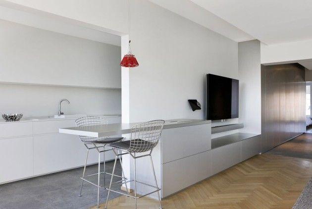 Voorbeeld van een afscheiding tussen keuken en woonkamer inspiratie my loft pinterest loft - Afscheiding glas keuken woonkamer ...
