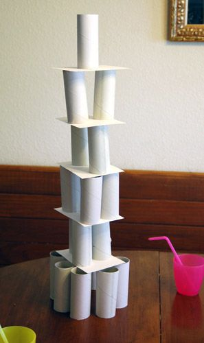 activity .. which team can build the tallest tower in 3 minutes using toilet paper rolls ... go!
