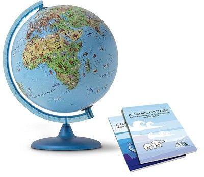Globus med lys og dyreillustrasjoner, 30 cm