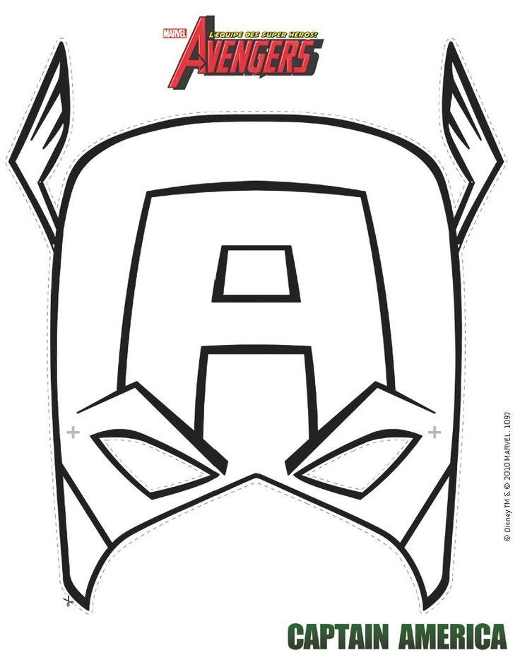 Masque à imprimer : Masque de Captain America à colorier