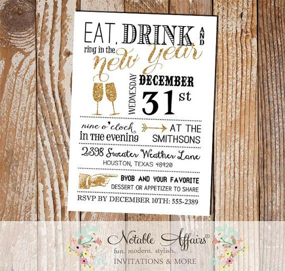 Eat Drink and Ring in the New Year 2015 New Year's Eve party invitation - black white gold new years party