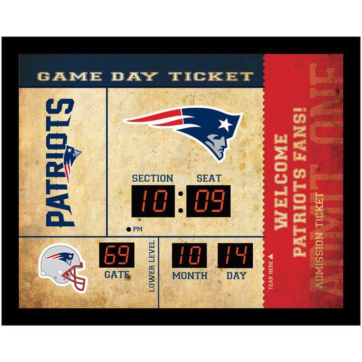 "New England Patriots 23"" x 18"" Bluetooth Scoreboard Wall Clock"